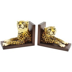 Pair of Hollywood Regency Italian 1960s Ceramic Cheetah Bookends with Wood Bases