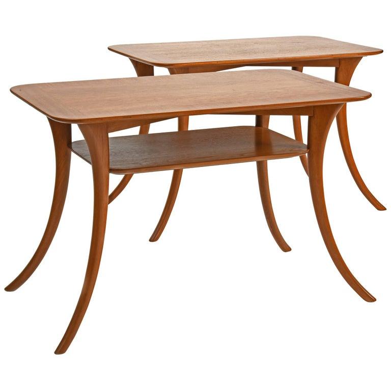 Klismos Sabre Leg End Tables, T.H. Robsjohn-Gibbings for Widdicomb, Pair, 1950s