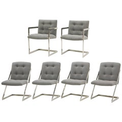 Set of Six Milo Baughman Dining Chairs, Two-Arm Chairs and Four Z Side Chairs