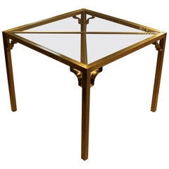 Mid-Century Modern Mastercraft Style Square Brass Glass Dinette Game Table
