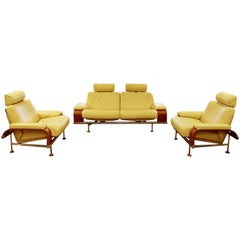 Contemporary Modern Nelo Sweden Reclining Sofa Pair of Reclining Lounge Chairs