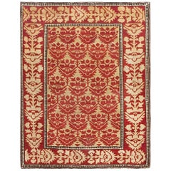 Small Red Antique Persian Sarouk Farahan Rug. Size: 2 ft x 2 ft 6 in