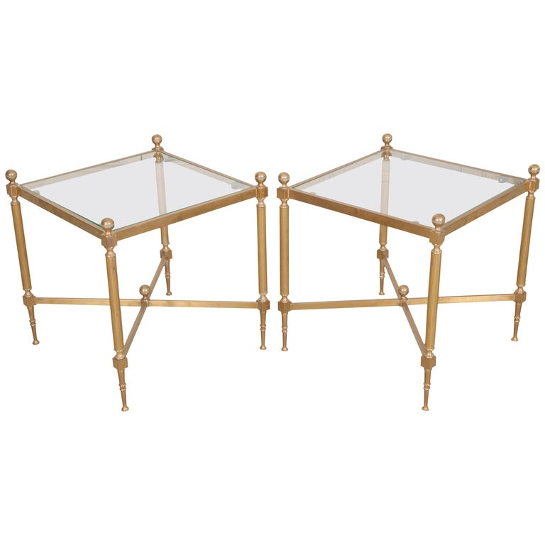 Pair of French Brass and Glass Jansen Square Tables