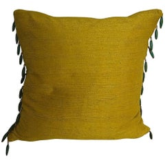 Early 19th Century Antique French Saffron Bourette Silk and Beaded Pillow
