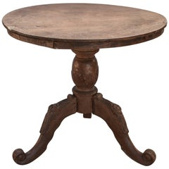 "Round Teak Pedestal Table 33"" One Plank Top, Carved Legs. Mid-20th Century, Java"