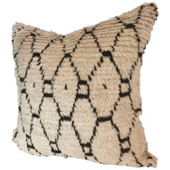 Custom Pillow Cut from a Vintage Moroccan Beni Ouarain Hand-Loomed Wool Rug