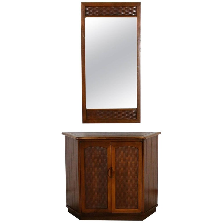 Console Cabinet and Mirror Basket Weave Style Lane Perception by Warren Church