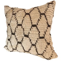 Custom Pillow Cut from a Vintage Moroccan Hand-Loomed Wool Beni Ouarain Rug