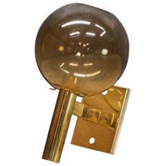 Vintage 1970s Midcentury Arredoluce Manza Brass Glass Wall Sconce Lamp Light