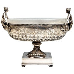 Silver 800 Flower Bowl Centerpiece Mermaids Germany Hanau Georg Roth, circa 1900