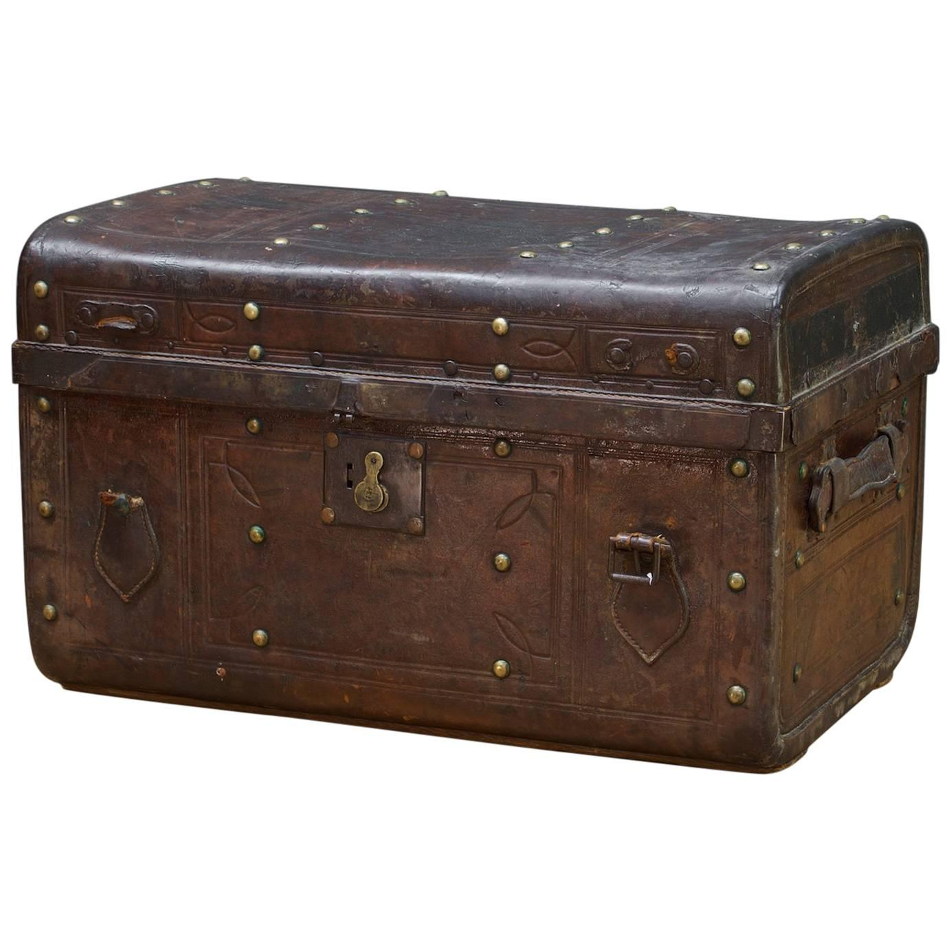 Vintage Ratrod Leather Rumble Box Trunk Steamer Luggage Model T Ford Rolls Royce