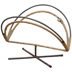 Rare Mid-Century Design Icon an Arthur Umanoff Iron and Cane Log Holder Rack