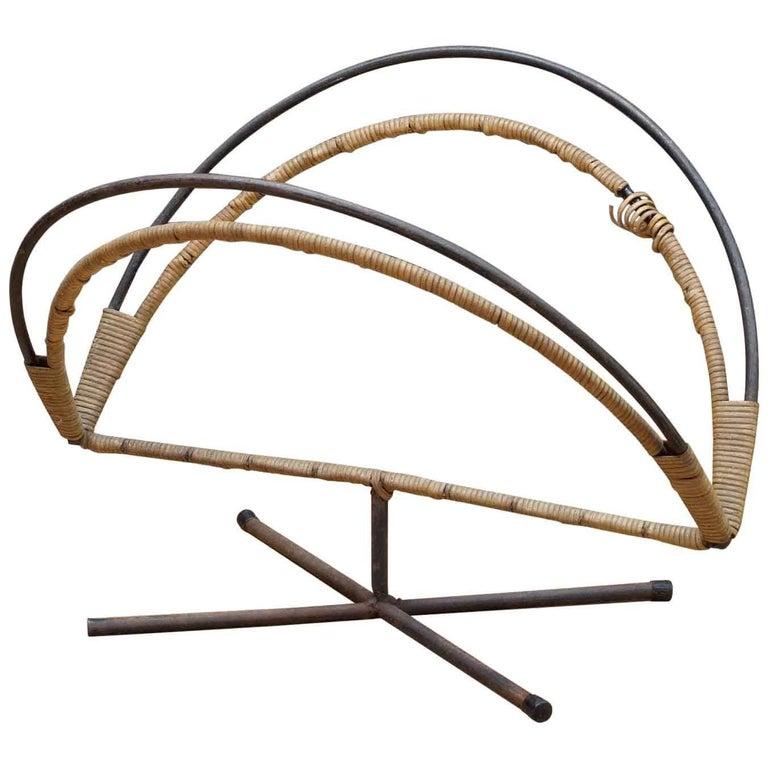 Rare Mid-Century Design Icon an Arthur Umanoff Iron and Cane Log Holder Rack