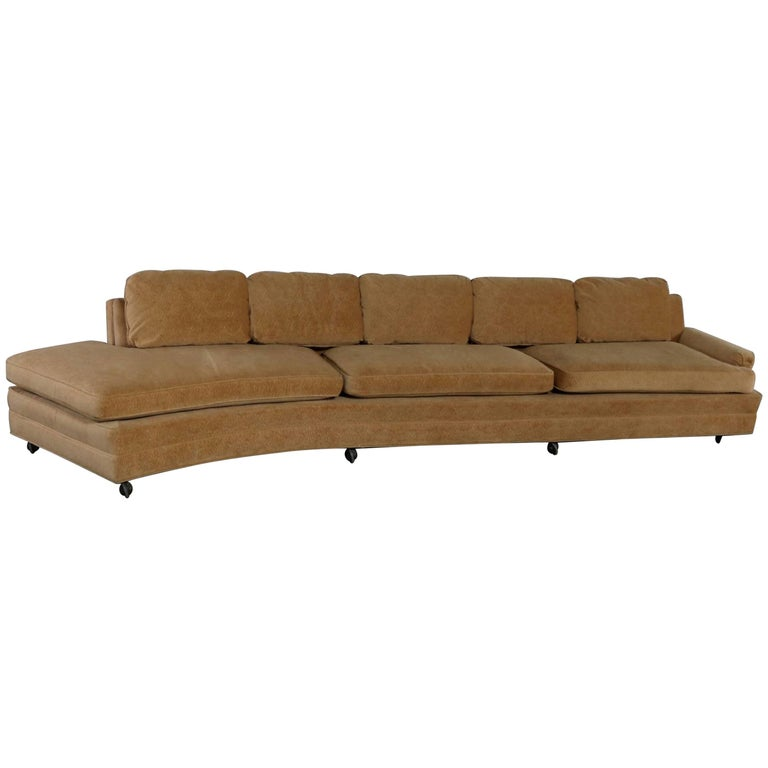 Extra Long Curved Single Arm Sofa Style of Harvey Probber For Sale