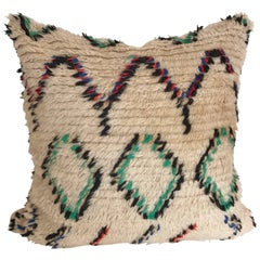 Custom Pillow Cut from a Vintage Hand Loomed Wool Moroccan Beni Ouarain Rug