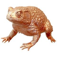 Money Frog Hand Gilded Copper Leaf Decor Tabletop Animal Object