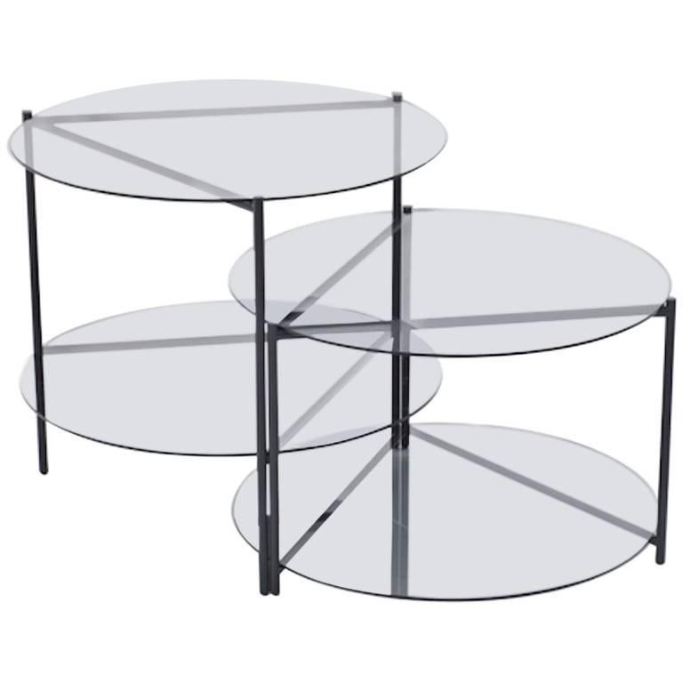 Moroso Byobu Coffee or Side Table in Glass and Powder Coated Tubular Steel