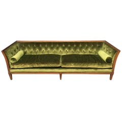 Antique French Velvet Chesterfield Sofa with Bolster Pillows