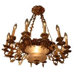 French 19th Century Electrified Bronze Candelabra Chandelier