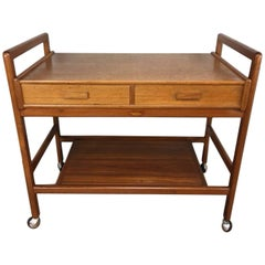 Two-Drawer Teak Bar Cart with Roller Wheels