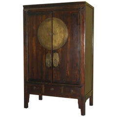 Chinese Ming Style Elmwood Media Entertainment Unit with Retractable Doors