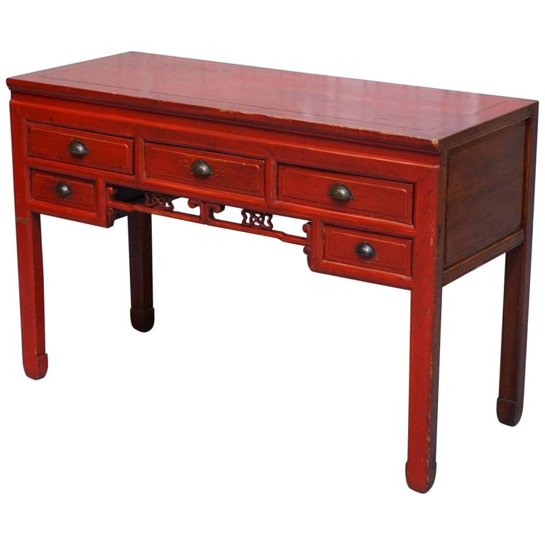 Chinese Red Rosewood Lacquered Solid Teak Desk Good for a Dressing Table as Well
