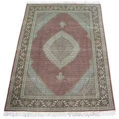 Wool and Silk Persian Tabriz Mahi, 400 KPSI