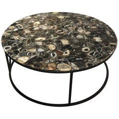 Round Agate Coffee Table with Iron Base Haskell