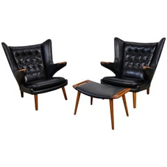 Hans Wegner Pair of Papa Bear Chairs with Ottoman in Leather