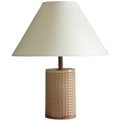 Short Column Table Lamp with Waffle Texture