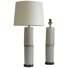 Tall Stacked Column Table Lamp with Waffle Texture