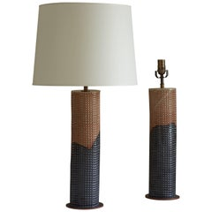 Tall Column Table Lamp with Waffle Texture
