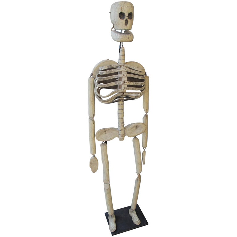Wood and Leather Skeleton Puppet from Odd Fellows Lodge For Sale
