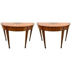Pair of Sheraton Mahogany Demilune Console Tables