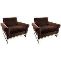 Pair of Milo Baughman Style Chrome Cantilever and Velvet Armchairs