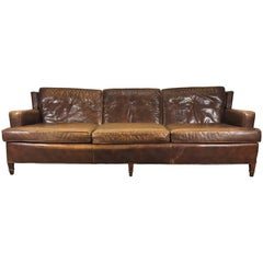 Classic 1940s Regency Destressed Leather Sofa