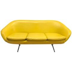 Midcentury Banana Yellow Vinyl Sofa Couch