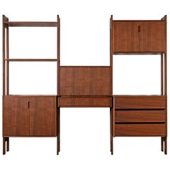 Danish Modern Freestanding Walnut Room Divider Wall Unit, circa 1960s