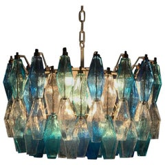 Colorful Poliedri Chandelier in the Style of Carlo Scarpa, Murano