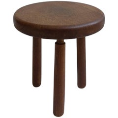 Midcentury French Stool in Style of Charlotte Perriand