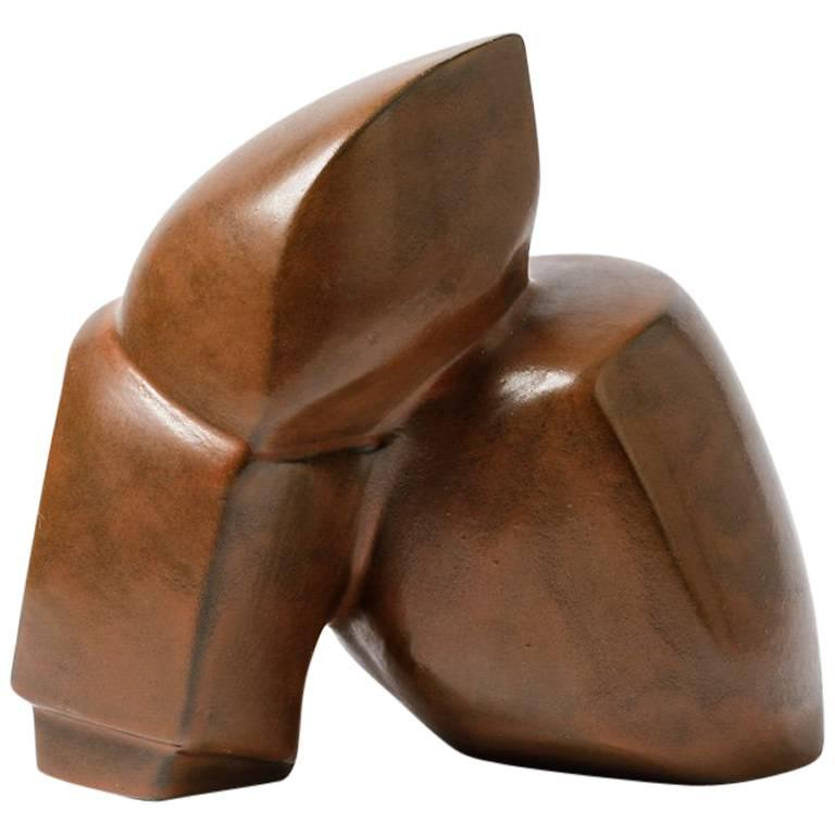 Geometrical Ceramic Sculpture by Michel Lanos, circa 1970-1980
