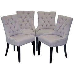 Set of Four Dining Chairs, Grey Fabric Chesterfield