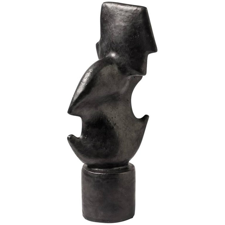 Ceramic Sculpture with Black Glaze by Michel Lanos, 1980-1990
