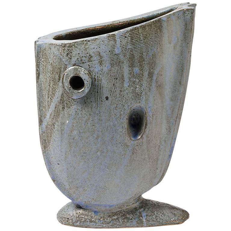 Ceramic Vase with Glaze Decoration by Michel Lanos, circa 1994