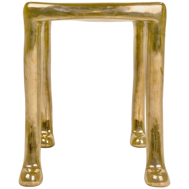 "Elegant Bronze ""Khamon"" Sculpture Stool by Adolfo Abejon, circa 2000, Spain"
