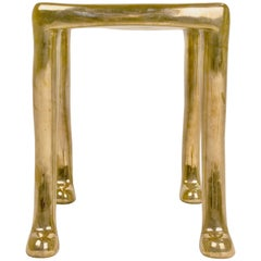 "Elegant Bronze ""Khamon"" Sculpture Stool by Adolfo Abejon, circa 2000, Spain"