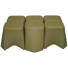 1 of 6 Each Boss Design Hoot Leather Stools Modular Contemporary Design
