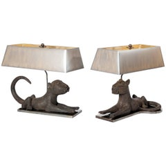 Pair of Colonial Bronze Leopards from Benin, Purpose Built Lamp Construction