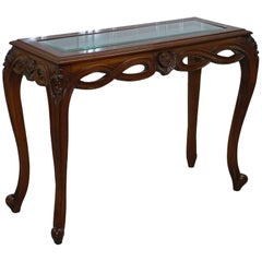 Stunning Long Elegant Cabriole Legged Console Mahogany Table Beveled Glass Top