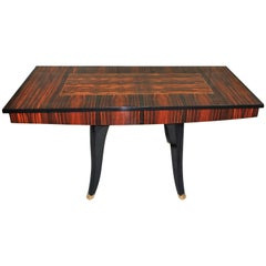 Monumental French Art Deco Macassar Centre Table or Dining Table, circa 1940s